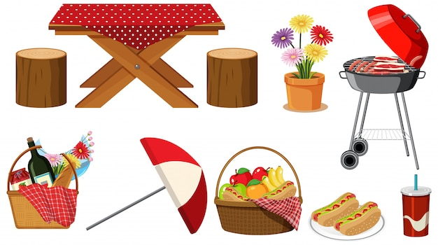 Conjunto de artículos de picnic sobre fondo blanco.