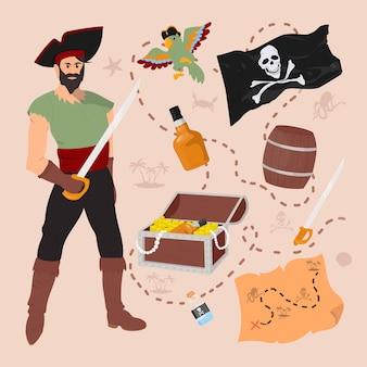 Conjunto de artículos piratas, cofre del tesoro, bandera, loro, mapa, barril, espada, veneno, ron.
