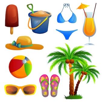 Conjunto de artículos de playa de verano icono