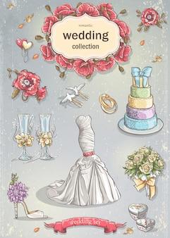 Un conjunto de artículos románticos de boda.