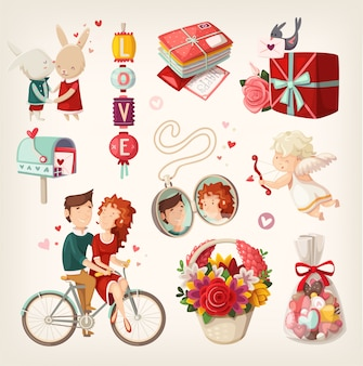 Conjunto de artículos románticos de san valentín y personas. ilustraciones aisladas