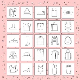 Conjunto de artículos de ropa de iconos delgada línea sobre fondo rosa abstracta