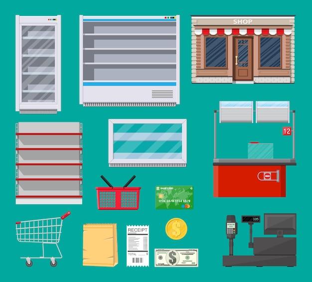 Conjunto de artículos de supermercado.
