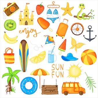 Conjunto de artículos de verano para vacaciones
