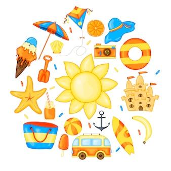 Conjunto de artículos de verano para vacaciones.