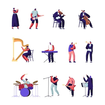 Conjunto de artistas de música clásica y popular. ilustración plana de dibujos animados