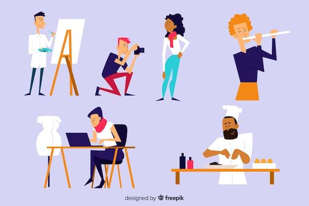 Conjunto de artistas en el trabajo.