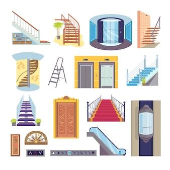 Conjunto de ascensor y escaleras