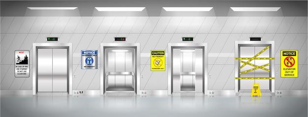 Conjunto de ascensores industriales realistas.