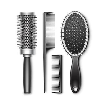Conjunto de aseo de plástico negro y cepillo de pelo de bolsillo radial que se encrespa en caliente, peine, herramientas profesionales de peluquería, vista superior aislada