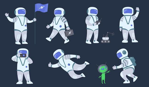 Conjunto de astronauta de dibujos animados