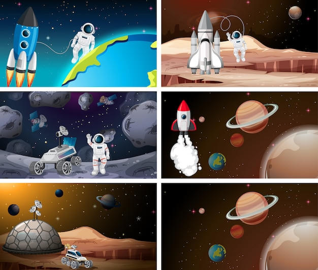 Conjunto de astronauta y escena del sistema solar o de fondo.