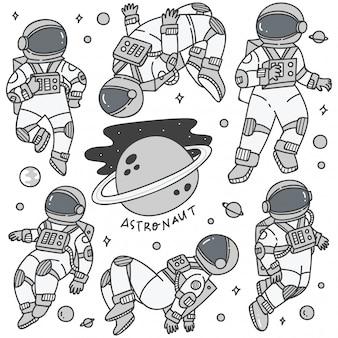 Conjunto de astronautas en diferentes poses