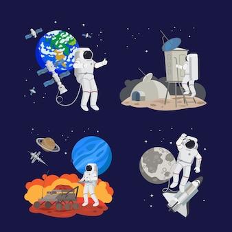 Conjunto de astronautas en el espacio.