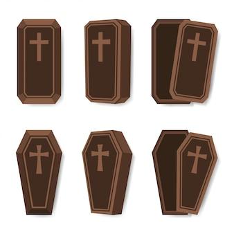 Conjunto de ataúd con cruz