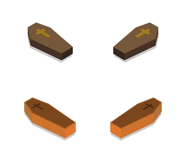 Conjunto de ataúdes muertos isométricos