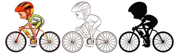 Conjunto de atleta ciclismo