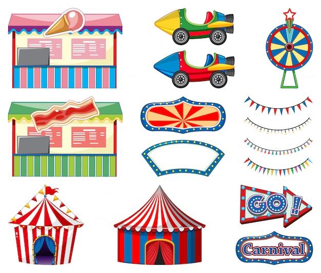 Conjunto de atracciones de circo y caseta de juegos en blanco