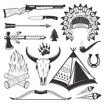 Conjunto de atributos y armas de cazador indio americano