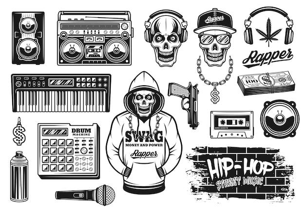Conjunto de atributos de música rap y hip hop de objetos vectoriales o elementos de diseño en estilo monocromo vintage aislado sobre fondo blanco.