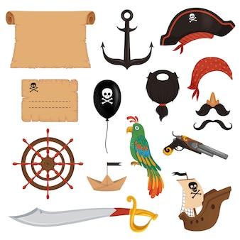 Conjunto de atributos piratas para las vacaciones en un estilo de dibujos animados.