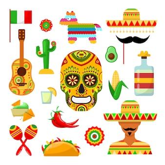 Conjunto de atributos tradicionales mexicanos sobre blanco.