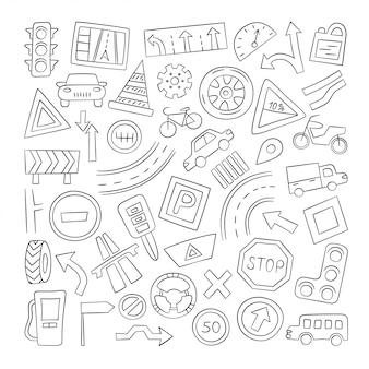 Conjunto de automóviles, objetos de carretera, señales de tránsito y automóviles.