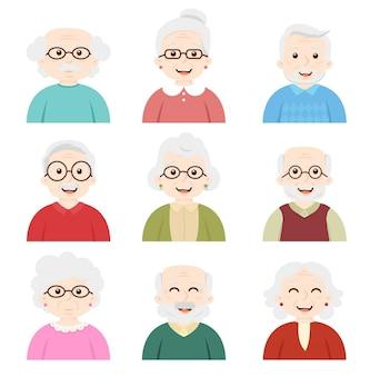 Conjunto de avatar de ancianos, abuela, granpa