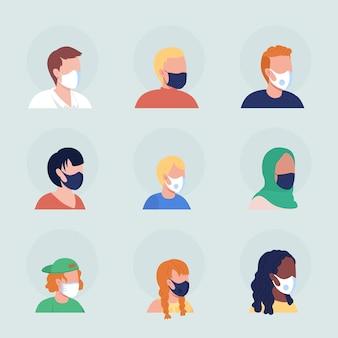 Conjunto de avatar de carácter vectorial de color semi plano de máscaras quirúrgicas. retrato con respirador desde la vista de tres cuartos. ilustración de estilo de dibujos animados moderno aislado para diseño gráfico y paquete de animación