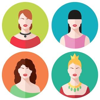 Conjunto de avatar de caras femeninas