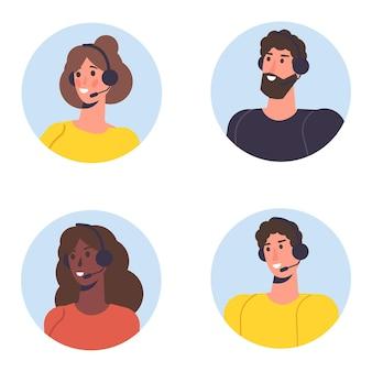 Conjunto de avatar de centro de llamadas. servicio al cliente, concepto de línea directa. trabajadores de oficina con auriculares, agentes de telemarketing. ilustración vectorial