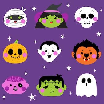 Conjunto de avatar de monstruo lindo de halloween