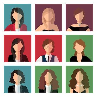 Conjunto de avatar de mujeres adultas