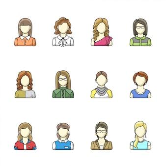 Conjunto de avatar de personaje de mujer diferente en estilo de línea. mujer, niña, avatares de mujer de negocios.