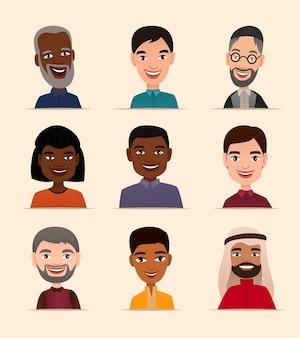Conjunto de avatar de personas felices