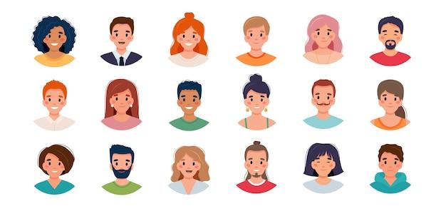 Conjunto de avatar de personas. grupo de diversidad de hombres y mujeres jóvenes.