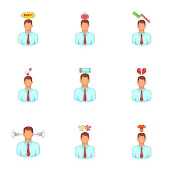 Conjunto de avatar de problema mental, estilo de dibujos animados