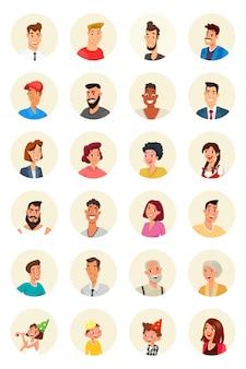 Conjunto de avatares de carácter de personas sonrientes aislado en blanco