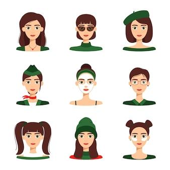 Conjunto de avatares de chicas guapas, colección de retratos de mujeres sobre fondo blanco, ilustración vectorial