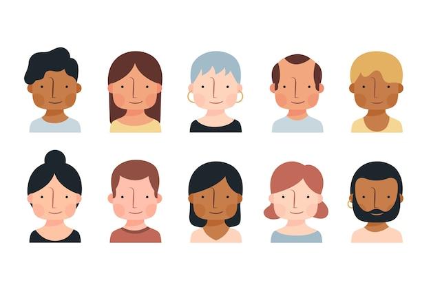 Conjunto de avatares de diferentes personas