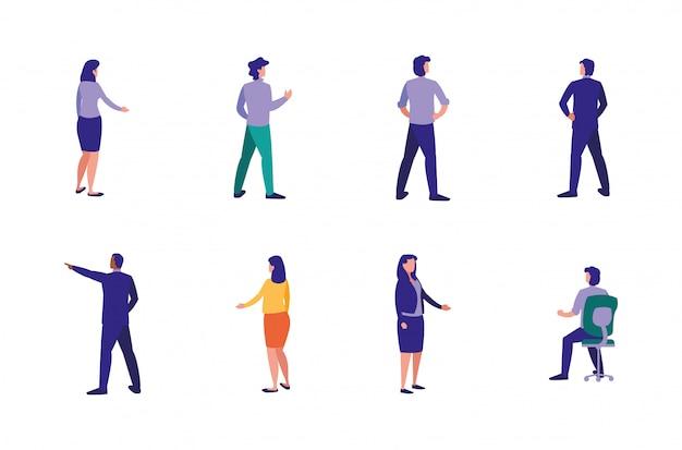 Conjunto de avatares de empresarios