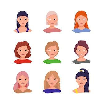 Un conjunto de avatares femeninos con diferentes peinados y emociones ilustración vectorial en estilo plano