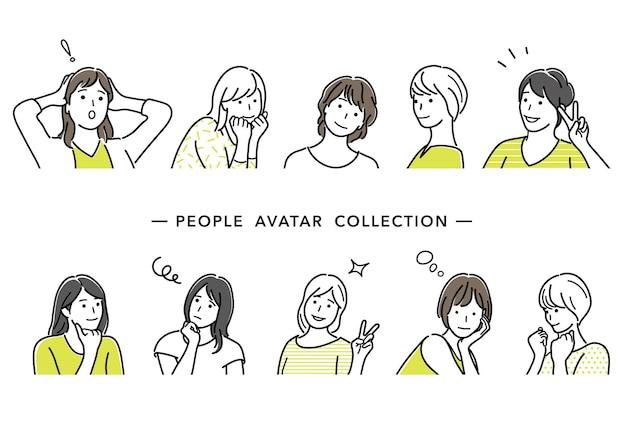 Conjunto de avatares femeninos ilustración vectorial dibujos de líneas simples aisladas sobre fondo blanco