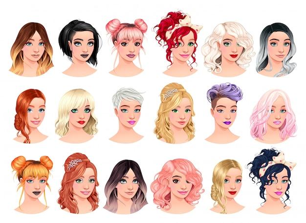 Conjunto de avatares femeninos de moda.