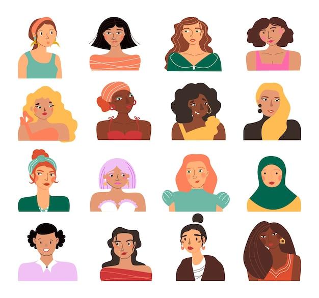 Conjunto de avatares femeninos