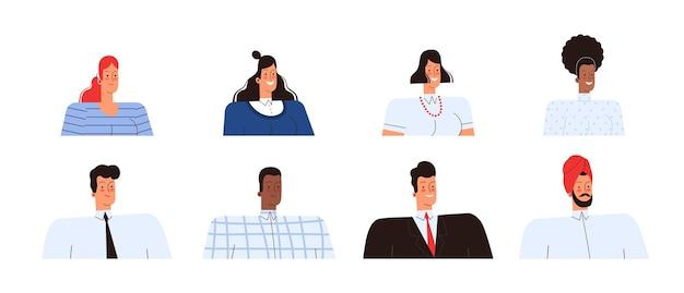 Conjunto de avatares para gente de negocios. equipo de diferentes nacionalidades. aislado en un fondo blanco.