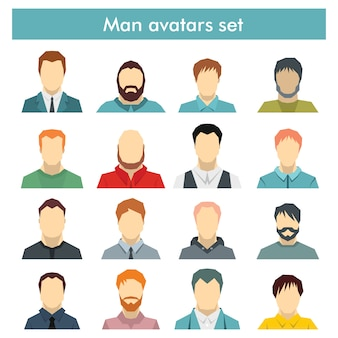 Conjunto de avatares para hombre con diferentes estilos de peinado: largo o corto, calvo, con barba o sin.