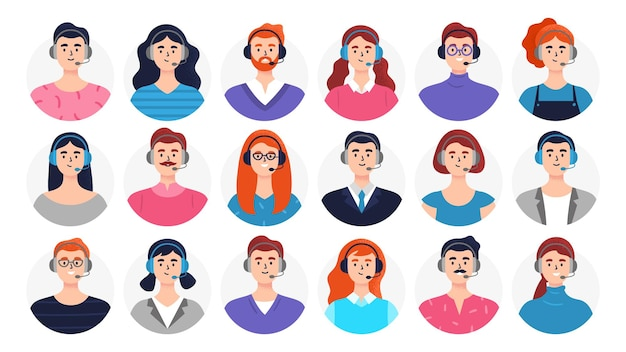 Conjunto de avatares de hombre y mujer con auriculares.