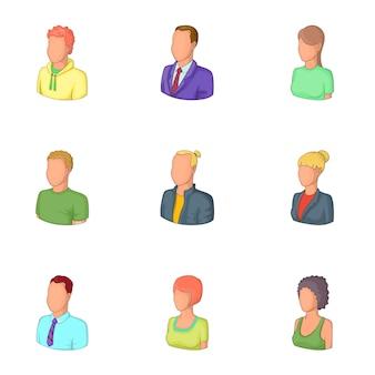 Conjunto de avatares de hombre y mujer, estilo de dibujos animados