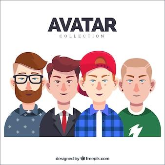 Conjunto de avatares de hombres jóvenes